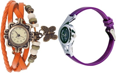 NEUTRON Modern Party Wedding Butterfly And World Cup Orange And Purple Color Combo Watch (G62-G4) For Girls And Women Watch  - For Women