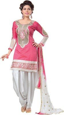 Zombom Poly Chanderi Embroidered Salwar Suit Material(Unstitched)