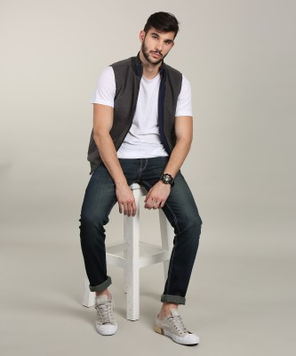 Lee Sleeveless Solid Men Jacket at flipkart