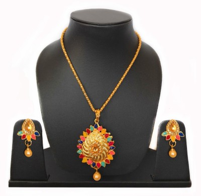 Stunning Queen Brass Jewel Set(Gold, Red, Multicolor)