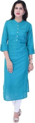 Style N Shades Women's Solid Straight Kurta(Blue)