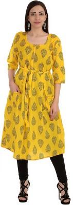 R Ruhani Apparels Women Block Print Flared Kurta(Yellow) Flipkart