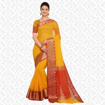 Divastri Woven Kanjivaram Art Silk Saree(Yellow) at flipkart