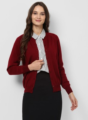 Monte Carlo Solid Round Neck Casual Women Maroon Sweater