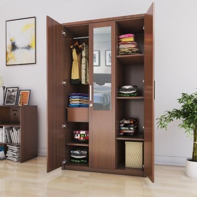 Spacewood Apex Engineered Wood 3 Door Wardrobe(Finish Color - Brown, Mirror Included)