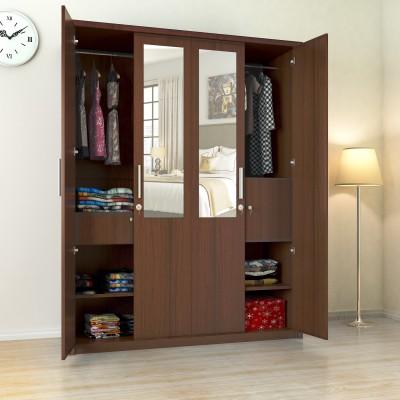 Flipkart Perfect Homes Nevada Engineered Wood 4 Door Wardrobe(Finish Color - Walnut, Mirror Included)