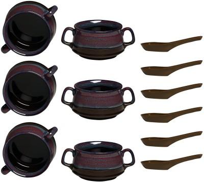 Caffeine Ceramic handmade Multicolor and Magenta Double Handled Soup Bowl Ceramic Soup Bowl(Multicolor, Pack of 6)