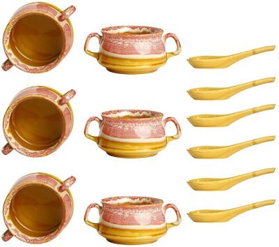 caffeine Ceramic Handmade Pink Brown Double Handled Soup Bowl Ceramic Sauce Bowl(Pink, Pack of 6)