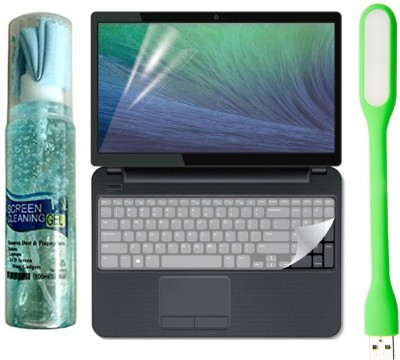 FineArts Combo of Cleaning Kit, 15.6 inch Laptop Screen Guard, Key Guard and Flexible USB Led Light Combo Set