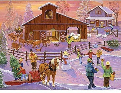 Bits and Pieces Fresh Snow On The Farm 1000 Piece Puzzle(1000 Pieces)