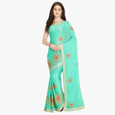 Shaily Retails Embroidered Fashion Georgette Saree(Blue) Flipkart
