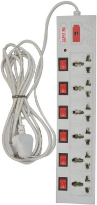 ALPHA.SM 6 Socket Surge Protector  White  6 Socket Extension Boards White