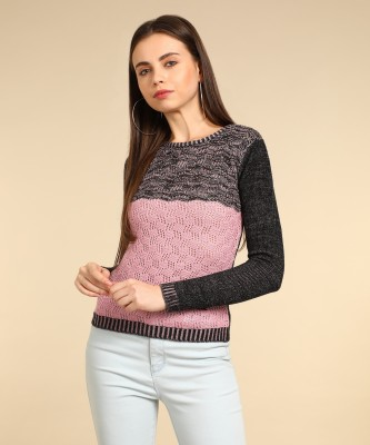 Wrangler Self Design Round Neck Casual Women Black, Pink Sweater at flipkart