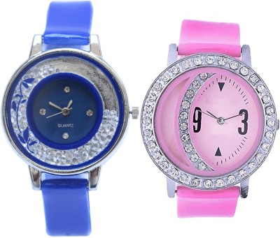 NEUTRON Classical Gift Flower Blue And Pink Color Combo Watch (G87-G73) For Girls And Women Watch  - For Girls