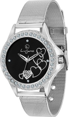 Lugano DE20023LG Appealing Gem Studded Analog Watch   For Women Lugano Wrist Watches