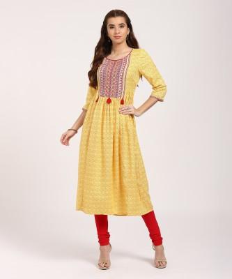 PAVITRA Women Colorblock A-line Kurta(Yellow)