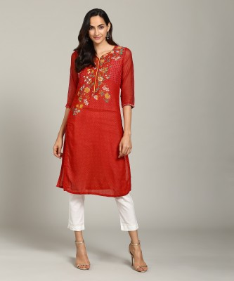 Biba Women Printed Straight Kurta(Red) at flipkart