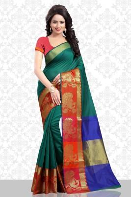 Divastri Printed Banarasi Poly Silk Saree(Dark Green)