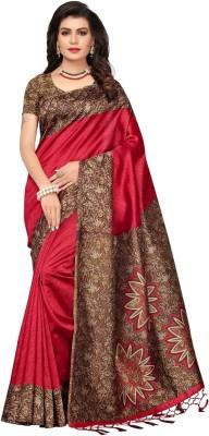 Ratnavati Printed Kalamkari Art Silk Saree(Red)