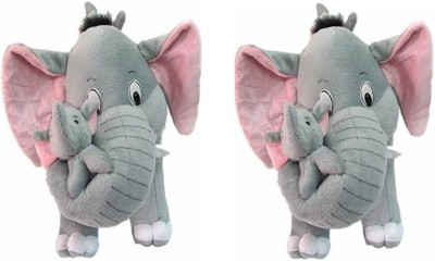 THE HIGH THINKING TOYS Combo Offer Two Mother Baby Elephant Stuff Animal  - 40 cm(Grey)