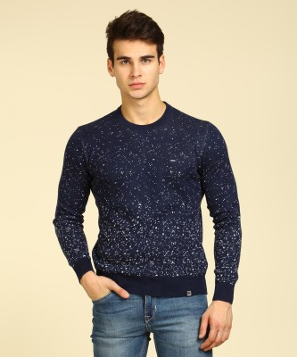Lee Self Design Round Neck Casual Men White, Blue Sweater