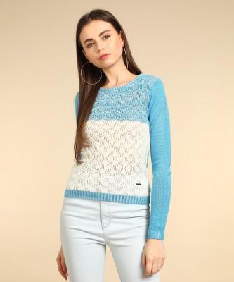 Wrangler Self Design Round Neck Casual Women White, Blue Sweater