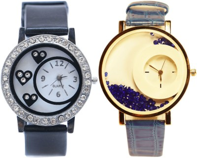 NEUTRON Latest Heart Love Valentine And Movable Dimond Black And Blue Color Combo Watch (G103-G178) For Girls And Women Watch  - For Women