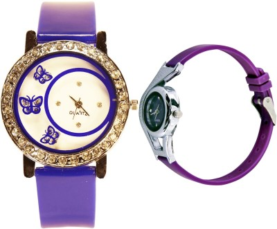 NEUTRON Classical Analogue Butterfly And World Cup Blue And Purple Color Combo Watch (G107-G4) For Girls And Women Watch  - For Women