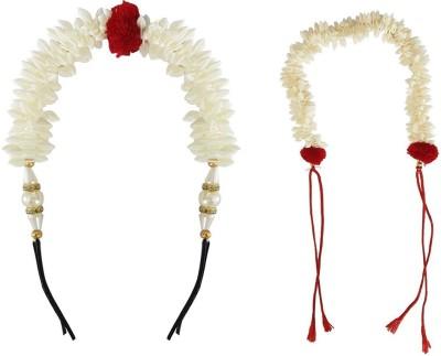 JAMPAK New Style Juda Bun Decoration Hair Gajra For Bridal Accessories For Girls Set of 2 Hair Accessory Set(White) Flipkart