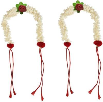 JAMPAK Hair New Style Juda Bun Decoration Hair Gajra Flower For Bridal Accessories For Girls Set of 2 Hair Accessory Set(White) Flipkart