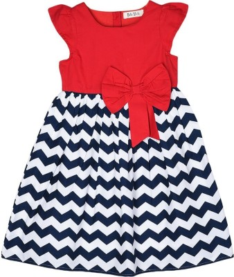 Bella Moda Girls Midi/Knee Length Casual Dress(Multicolor, Cap Sleeve)