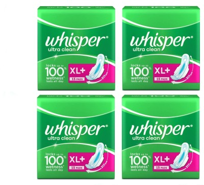 Whisper Ultra Clean 15+15+15+15 Pad Sanitary Pad(Pack of 4)