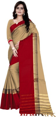 Lake prints Striped Fashion Tussar Silk Saree(Multicolor)