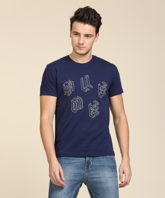 Lee Printed Men Round Neck Dark Blue T-Shirt Flipkart