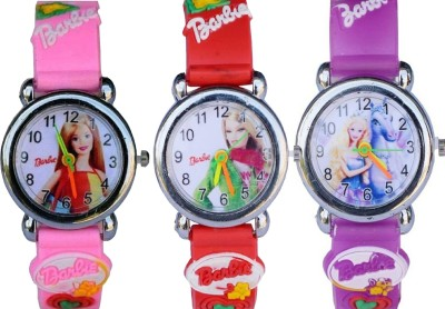 Arihant Retails Barbie Kids Watch AR-18 (Also best for Birthday gift and return gift for kids) Pack of 3, Analog Watch  - For Boys & Girls