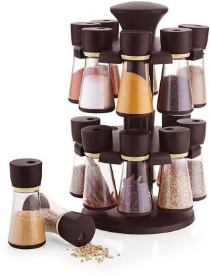 Floraware Storewell 16-Jar Revolving Spice Rack/Masala Rack Set of 16 Condiment Set(Plastic)