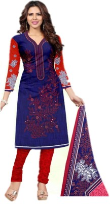 dharmee Cotton Silk Embroidered Salwar Suit Material(Semi Stitched)