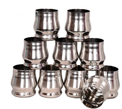 Limetro Stainless Steel G2-10 Glass Set(Steel, 350, Steel, Pack of 10)