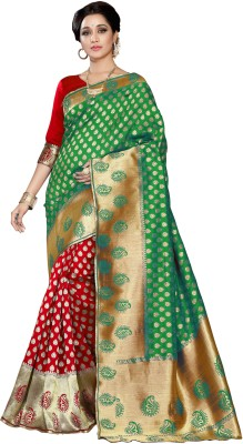 Pehnava Woven Banarasi Jacquard Saree(Green, Red, Beige) Flipkart