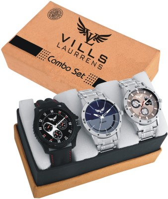 Vills Laurrens V-1111~1112~1113 Combo Of Three Metallic And Leather Super Quality Watch  - For Men