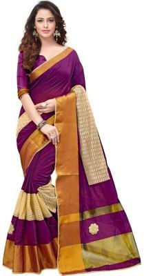 FabTag - BAPS Self Design, Embroidered Bollywood Silk Cotton Blend Saree(Purple)