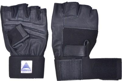 Pioneer Leather Gym Gloves Gym & Fitness Gloves (Men, Black)