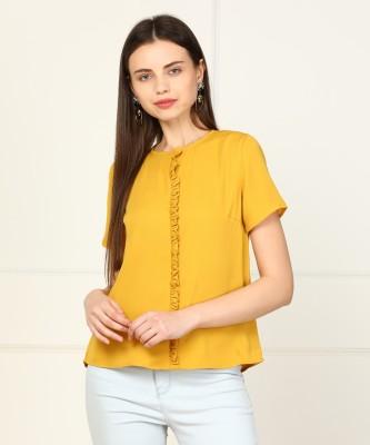 Van Heusen Casual Cuffed Sleeve Solid Women Yellow Top