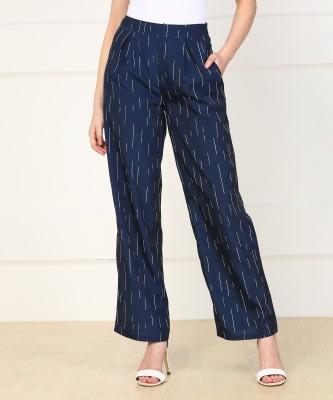 Vero Moda Relaxed Women Dark Blue Trousers at flipkart