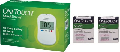 OneTouch Select Simple Glucometer with 20 Test Strips Glucometer(White)