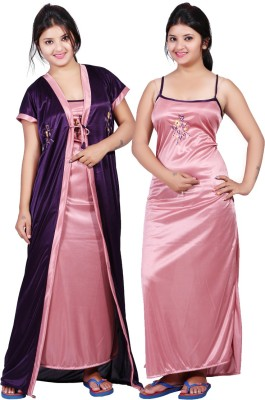 Mahaarani Women Nighty with Robe(Purple, Pink)