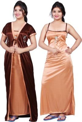 Mahaarani Women Nighty with Robe(Brown, Beige)
