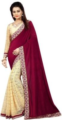 Bolly Lounge Printed Fashion Velvet, Net Saree(Multicolor)