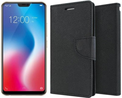 Unirock Wallet Case Cover for Vivo V9 (Pearl Black (Golden Line), 64 GB)(Black, Dual Protection)