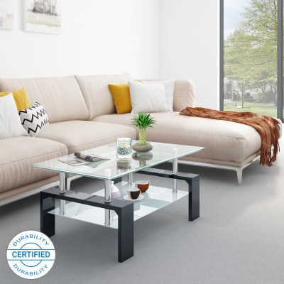 Flipkart Perfect Homes Dorn Glass Coffee Table(Finish Color - Black)